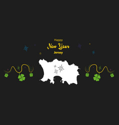 Happy new year theme with map of jersey vector