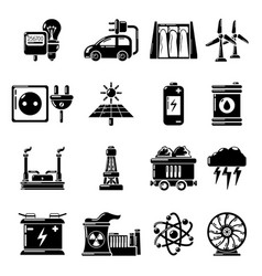 Heat cool air flow tools icons set simple style vector