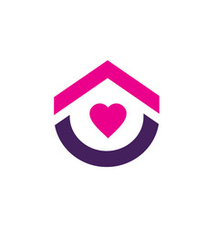 home or house logo with pink heart symbol vector image