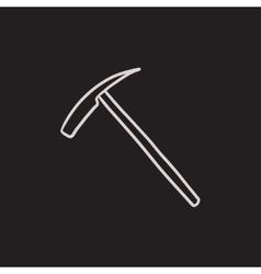 Ice pickaxe sketch icon vector