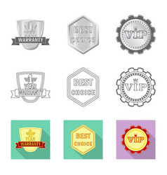 Isolated object of emblem and badge icon set of vector