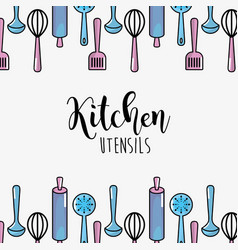 Kitchen utensils culinary collection background vector