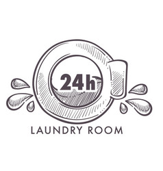 Laundry room 24 hours every day and night logotype vector