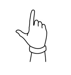 Letter j hand sign - thin line vector