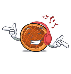 Listening music baket pie mascot cartoon vector