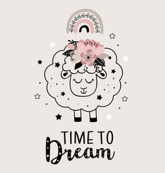 Magic poster with cute floral sheep vector