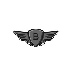 modern professional wings and shield initial b vector image