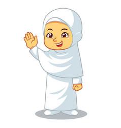 Moslem girl hajj vector