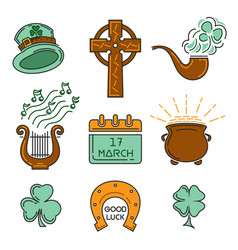 multicolored icons set for st patricks day vector image