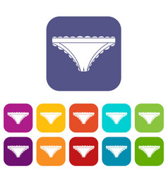 panties with frill icons set flat vector image