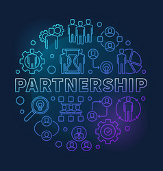 partnership round blue linear vector image