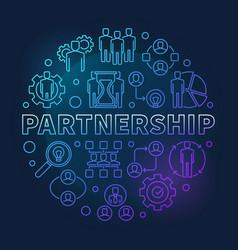 Partnership round blue linear vector