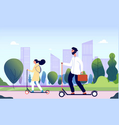 people riding electric kick scooter happy smiling vector image