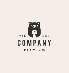 pig mom and son hipster vintage logo icon vector image
