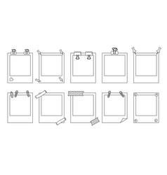 polaroid photo frame line set memo messages vector image