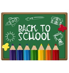 poster design for back to school with colorpencils vector image