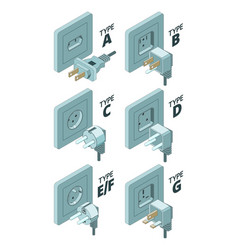 power plug types electricity energy box connector vector image