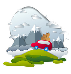 red car with baggage in scenic nature landscape vector image