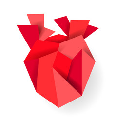 red origami paper heart isolated on white vector image