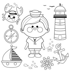 sailor boy nautical set vector image