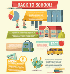 School orthogonal infographics vector