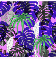 seamless vivid pattern with tropical banana palm vector image