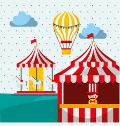 Sellerman booth carousel and hot air balloon vector