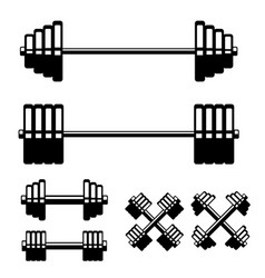 set barbell and dumbbells isolated on white vector image