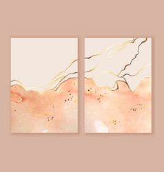set cards backgrounds with watercolor ink vector image
