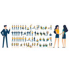 set flat design characters and poses vector image