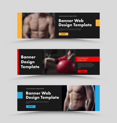 Set horizontal black web banners with place vector
