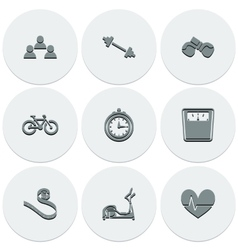 Set of light icons on round fitness fashionable vector