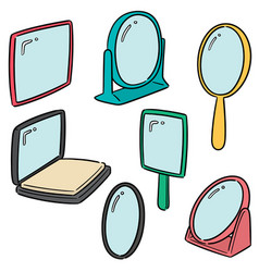set of mirror vector image