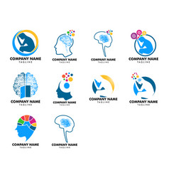 Set psychology logo template design vector