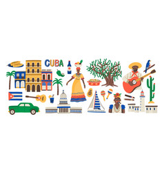 Set various traditional cuba colorful vector