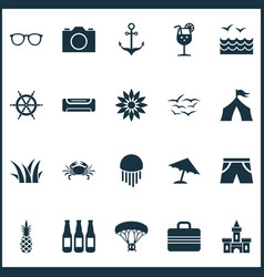 sun icons set with flower camera sea and other vector image