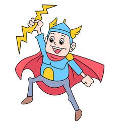 Superhero thor god controlling lightning as his vector