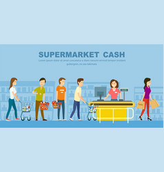 Supermarket store counter desk banner vector