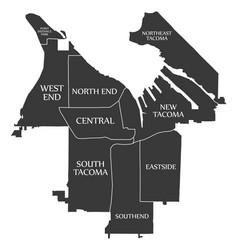 Tacoma washington city map usa labelled black vector