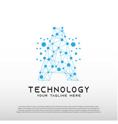 Technology logo with initial a letter network vector