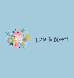time bloom spring lettering flowers vector image