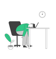 Tired or boring businessman lying on laptop vector