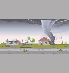 Tornado destroys houses landscape vector