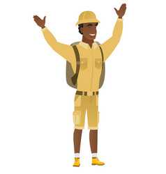 Tourist standing with raised arms up vector