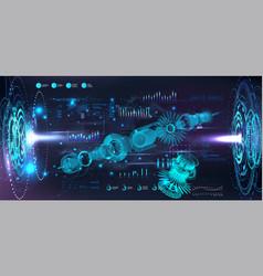 Turbine jet engine blueprint in hologram vector