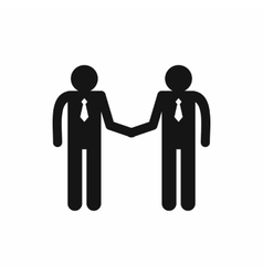 Two men shaking hands icon simple style vector