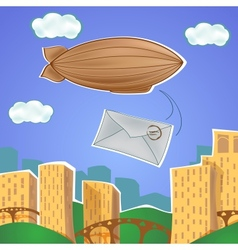 Urban landscape with blimp and letter vector image