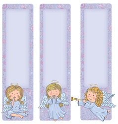 Vertical banner with cute angels vector