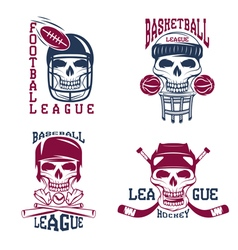 Vintage sport labels set with skulls vector