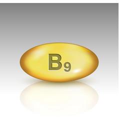 Vitamin b9 vitamin drop pill vector